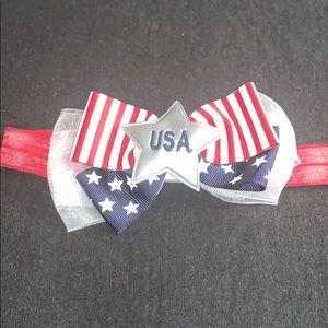 Baby Girls Red Star Patriotic Bow Stretch Headband